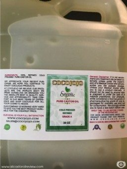 Cocojojo castor oil label