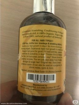Fountain Oil Castor Oil label