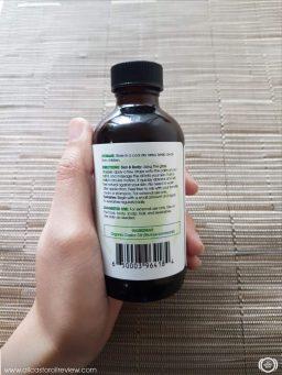 Back label of Shiny Leaf Castor Oil